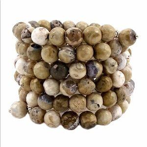 Savvy Cie Natural Agate Coil Wrap Bracelet